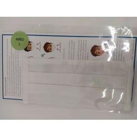 Mascarilla Higienica Infantil Reutilizable Equivalencia Ffp2 Blanca Lisa Talla M Y Talla L